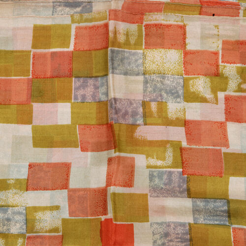 100% Mulberry Silk Multi Colour Abstract Pattern Pareo (Size 180x100 Cm)