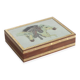 Handcrafted Genuine Gemstone Top Wooden Box with Horse Painting (Size 21x16x5 Cm)