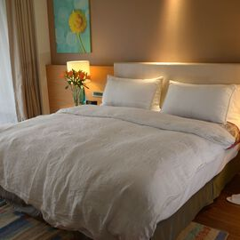 100% Linen Stone Washed Off White Colour King Size Duvet Cover (Size 225x220 Cm) and Two Pillow Cases (75x50 Cm), Oeko-Tex Certified