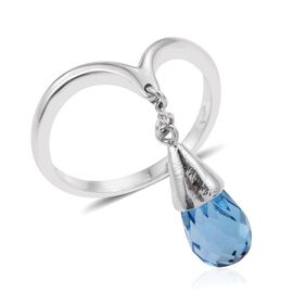 LucyQ Electric Swiss Blue Topaz Water Drip Ring in Platinum Overlay Sterling Silver 3.750 Ct.