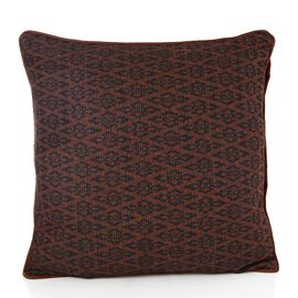 Brown Colour Jacquard Woolen Cushion (Size 43x43 Cm)