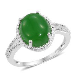 Green Jade (Ovl), Diamond Ring in Sterling Silver 6.000 Ct.