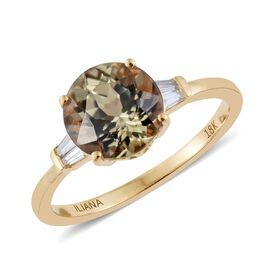 ILIANA 18K Yellow Gold 2.13 Carat AAA Turkizite Ring With Diamond SI G-H
