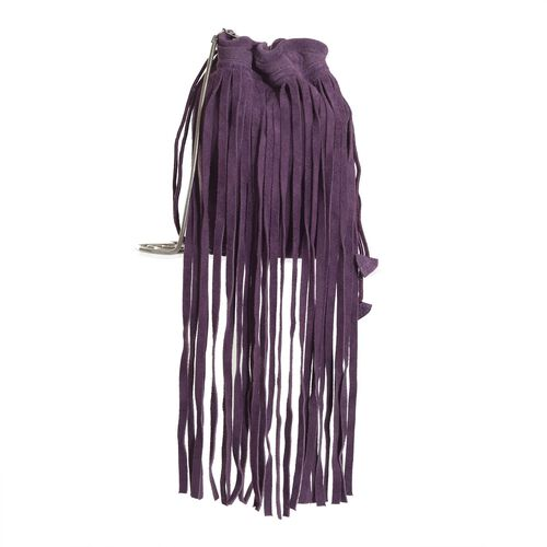 Genuine Leather Purple Colour Potli Bag with Long Fringes and Chain Strap (Size 17x17x8.5 Cm)