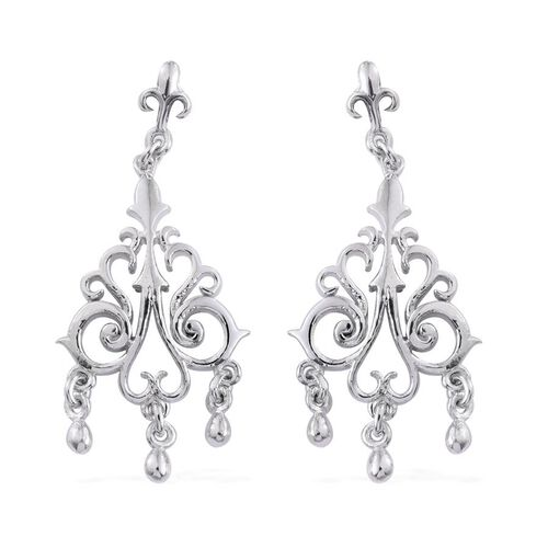 Platinum Overlay Sterling Silver Chandelier Earrings (with Push Back), Silver wt 5.63 Gms.