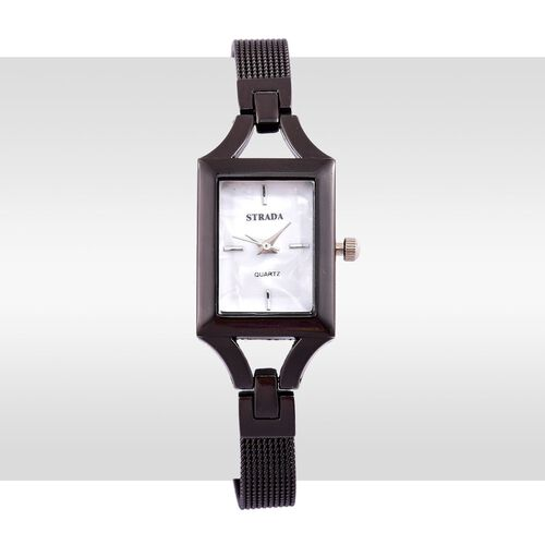 STRADA Japanese Movement White Dial Water Resistant Watch in Black Tone with Stainless Steel Back and Chain Strap