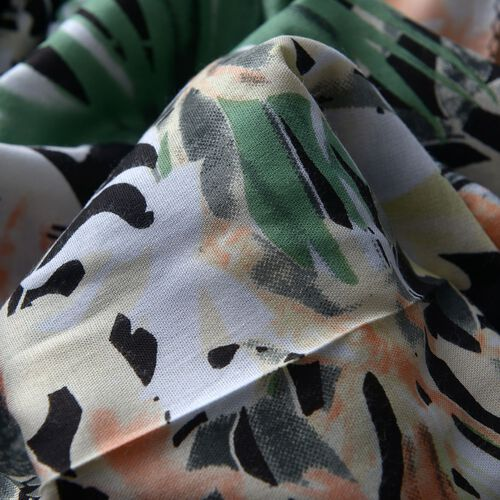 100% Natural Bamboo Fabric Black and Multi Colour Floral and Leaves Pattern White Colour Scarf (Size 180x50 Cm)