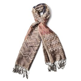 Beige, Red and Multi Colour Zig Zag Pattern Brown Colour Scarf with Tassels (Size 180x70 Cm)