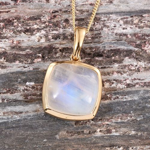 Natural Rainbow Moonstone (Cush) Solitaire Pendant With Chain in 14K Gold Overlay Sterling Silver 8.000 Ct.