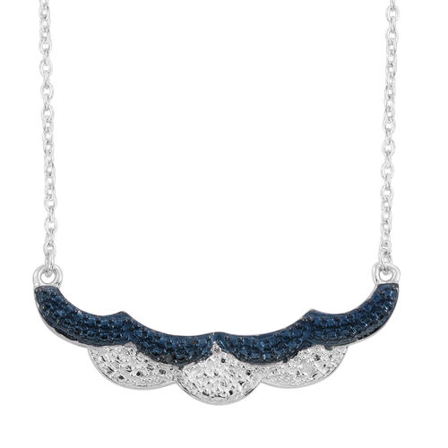 Blue and White Diamond (Rnd) Necklace (Size 18) in Platinum Overlay Sterling Silver