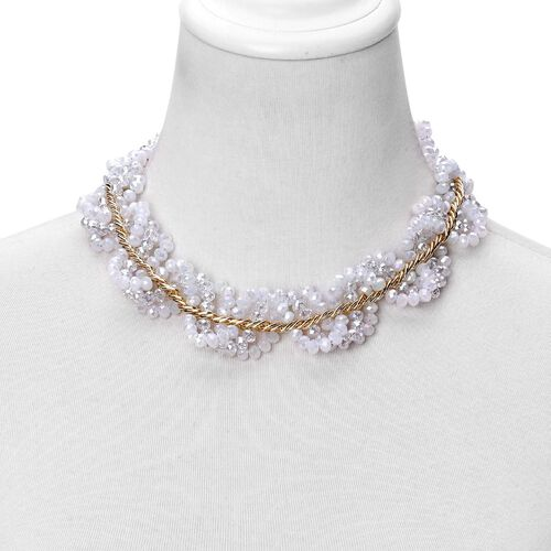 Simulated White Diamond Necklace (Size 18 with 3 inch Extender) in Gold Tone
