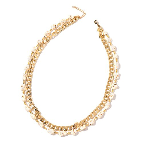 White Howlite, Simulated Champagne Diamond and Simulated Golden Pearl Curb Chain Necklace (Size 28 with Extender) in Yellow Gold Tone 456.000 Ct.