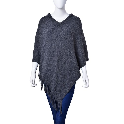 Dark Grey Colour Knitted Poncho with Fringes (Size 80X75 Cm)