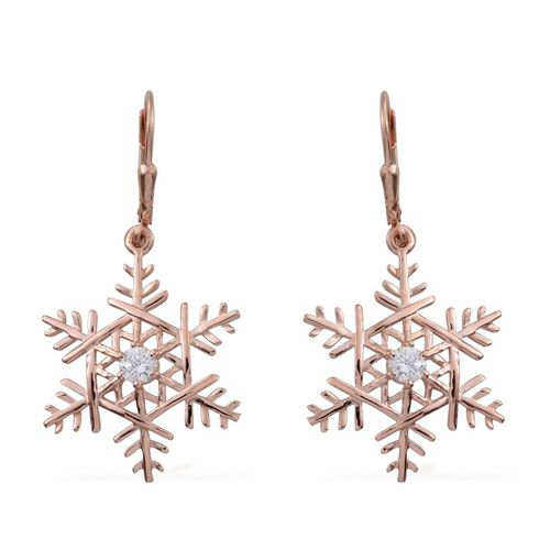 J Francis - Rose Gold Overlay Sterling Silver (Rnd) Snowflake Lever Back Earrings Made with SWAROVSKI ZIRCONIA