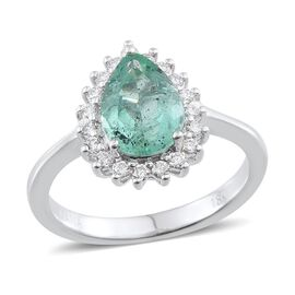 ILIANA 18K W Gold Boyaca Colombian Emerald (Pear 2.00 Ct), Diamond Ring 2.250 Ct.