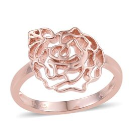Kimberley Rose Gold Overlay Sterling Silver Floral Ring, Silver wt 3.55 Gms.