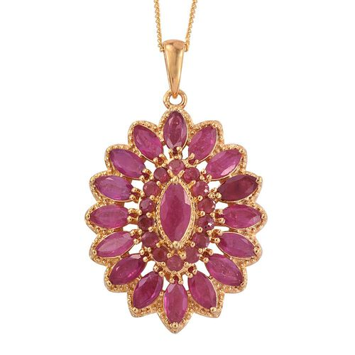 African Ruby (Mrq) Pendant With Chain in 14K Gold Overlay Sterling Silver 6.000 Ct.