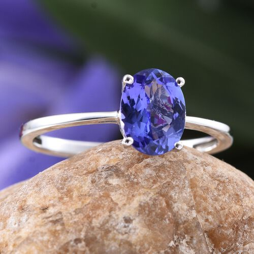 14K W Gold AA Tanzanite (Ovl) Solitaire Ring 1.500 Ct.