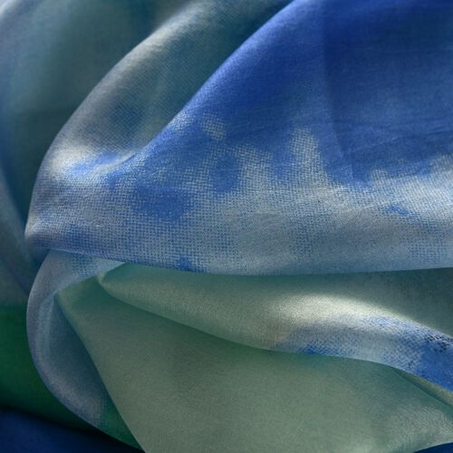 100% Mulberry Silk Green, Blue and Multi Colour Printed Pareo (Size 180x100 Cm)