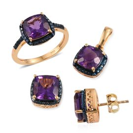 Lusaka Amethyst (Cush), Blue Diamond Ring, Pendant and Stud Earrings (with Push Back) in 14K Gold Overlay Sterling Silver Set 6.790 Ct.