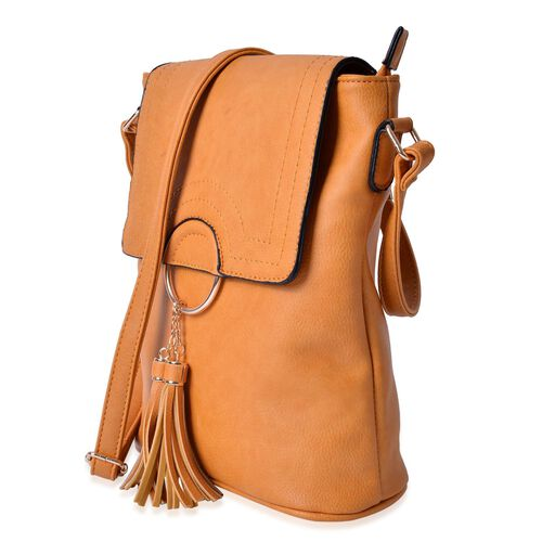 Yellow Colour Bag with Tassels and Adjustable Shoulder Strap (Size 29x26x10 Cm)