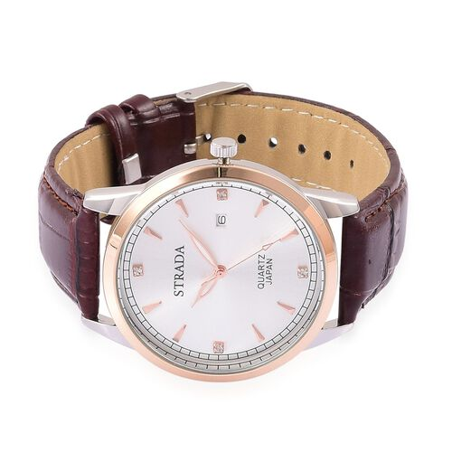 STRADA Japanese Movement White Austrian Crystal Studded Sunshine Pattern Silver Dial Water Resistant Watch in Rose and Silver Tone with Stainless Steel Back and Chocolate Colour Strap
