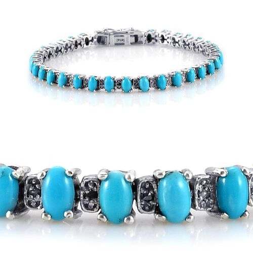 Arizona Sleeping Beauty Turquoise (Ovl), Diamond Bracelet (Size 7) in Platinum Overlay Sterling Silver 6.750 Ct.