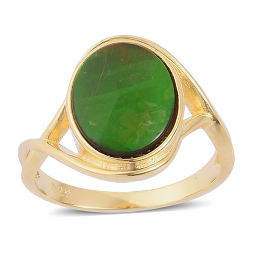 Canadian Ammolite (Ovl) Solitaire Ring in Yellow Gold Overlay Sterling Silver 2.500 Ct.