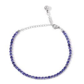 AAA Simulated Tanzanite Tennis Bracelet (Size 6.5 with 2 inch Extender) in Stainless Steel
