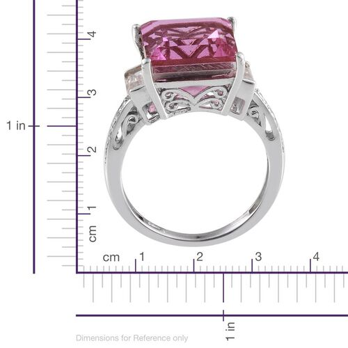 Kunzite Colour Quartz (Sqr 8.25 Ct), White Topaz Ring in Platinum Overlay Sterling Silver 9.250 Ct.