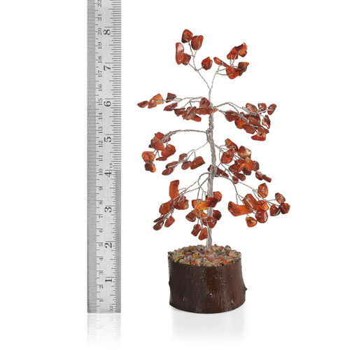 Home Decor - Carnelian Leaves GemStone Tree (Stone wt Approx 50 to 55 Ct.) (Size 18x6 Cm)
