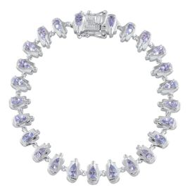 Tanzanite (Pear) Bracelet in Platinum Overlay Sterling Silver (Size 7.5) 4.500 Ct.