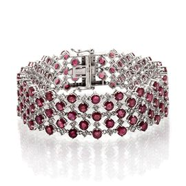 African Ruby (Rnd), White Topaz Bracelet in Platinum Overlay Sterling Silver (Size 7.5) 32.500 Ct.