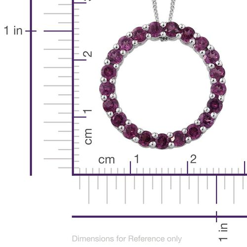 Rare Mozambique Grape Colour Garnet (Rnd) Circle of Life Pendant With Chain in Platinum Overlay Sterling Silver 2.250 Ct.