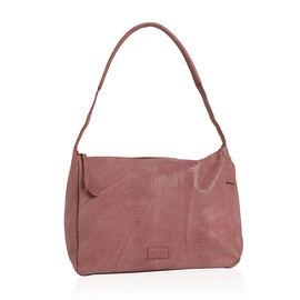 100%  Genuine Leather RFID Blocker Coral Colour Lizard Pattern Shoulder Bag with Strap (Size 36x28x16 Cm)