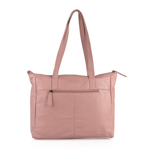 Set Of Two -Marie Full Grain Genuine Leather Blush Pink Tote Bag with RFID Pouch (31x9x28cm and 20x13cm)