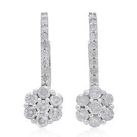 9K White Gold 1 Carat Diamond Floral Lever Back Earrings SGL Certified I3 G-H