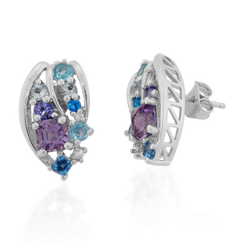 J Francis Swirl- Platinum Overlay SS African Amethyst, Multi Gem Stone Earring  2.370  Ct.