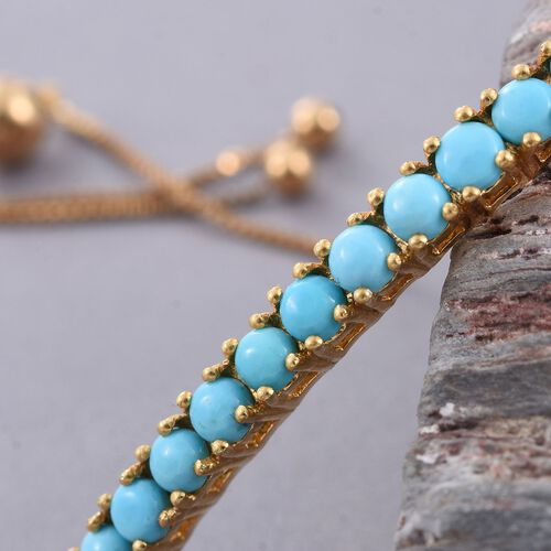 Arizona Sleeping Beauty Turquoise (Rnd) Adjustable Bracelet (Size 6.5 to 9) in 14K Gold Overlay Sterling Silver 2.000 Ct.