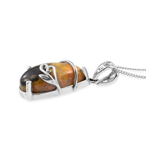 Bumble Bee Jasper (Pear) Solitaire Pendant With Chain in Platinum Overlay Sterling Silver 7.500 Ct.