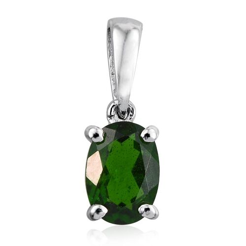 Russian Diopside (Ovl) Solitaire Pendant in Platinum Overlay Sterling Silver 0.750 Ct.