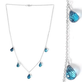 London Blue Topaz Necklace (Size 18) in Platinum Overlay Sterling Silver 18.200 Ct.