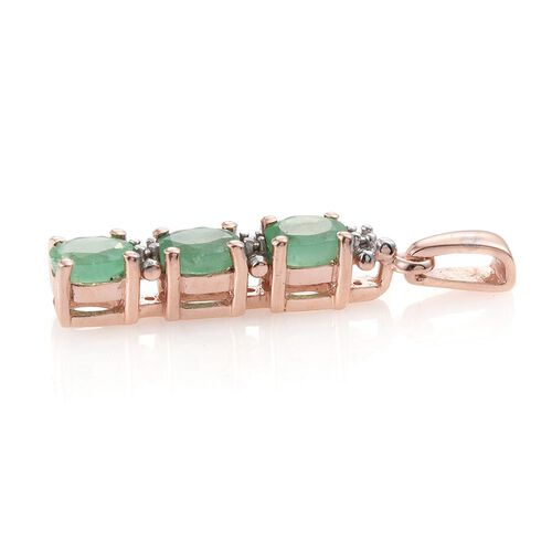 Zambian Emerald 1 Carat Silver Trilogy Pendant in Rose Gold Overlay