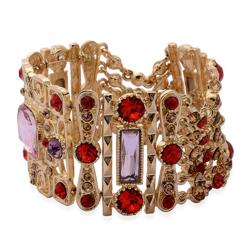 Multi Colour Glass, Champagne Colour and Red Austrian Crystal Bracelet (Size 7.5) in Gold Tone