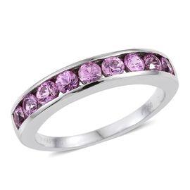 RHAPSODY 950 Platinum AAAA Pink Sapphire (Rnd) Half Eternity Band Ring 1.250 Ct.