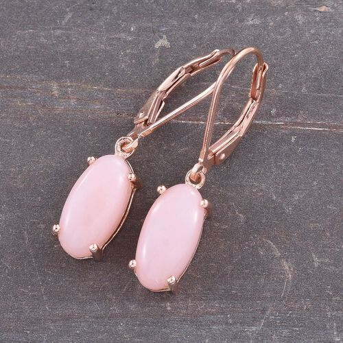 Natural Peruvian Pink Opal (Ovl) Lever Back Earrings in Rose Gold Overlay Sterling Silver 3.500 Ct.