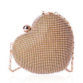 AAA White Austrian Crystal Heart Shape Clutch Bag in Yellow Gold Tone (Size 14x11x6 Cm)