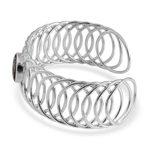 Goldenite (Rnd) Cuff Bangle in Platinum Overlay Sterling Silver (Size 7.5) 6.750 Ct.