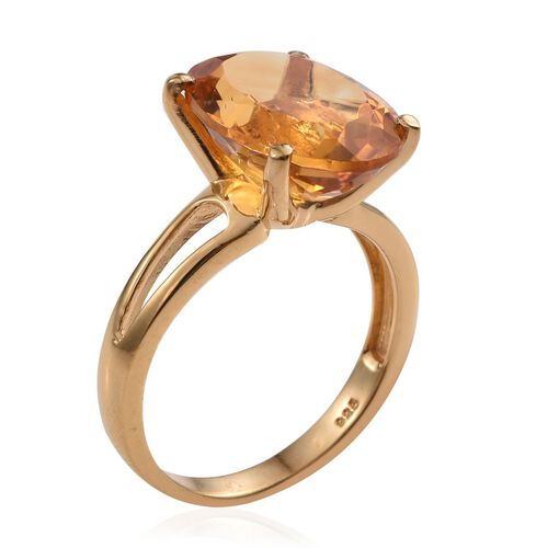 Rare Size AA Citrine (Ovl) Solitaire Ring in 14K Gold Overlay Sterling Silver 9.000 Ct.
