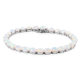 Ethiopian Welo Opal (Ovl) Bracelet in Platinum Overlay Sterling Silver (Size 8) 14.250 Ct.